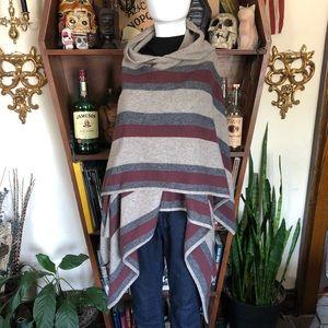 360 Cashmere Hooded Wrap Cape medium